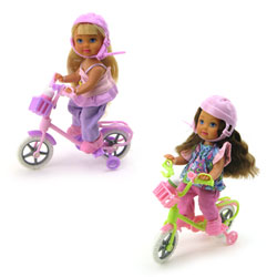 Poupée Lolly à bicyclette