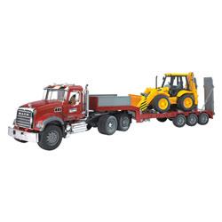 Camion Mack de transport avec tractopelle