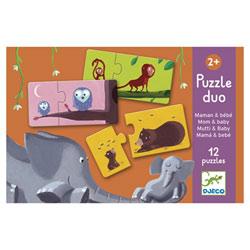 Puzzles 2 pièces maman/bébé animaux