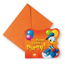 6 Cartes d'invitation Donald