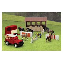 Coffret haras avec chevaux et véhicule 1/32 ème
