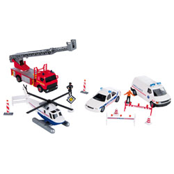 Set 4 véhicules métal et accessoires
