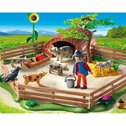 5122-Enclos et éleveur de cochons