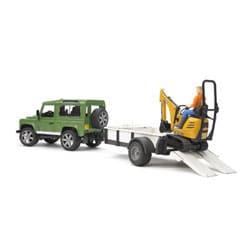 Land Rover et Remorque avec mini pelle JCB et personnage