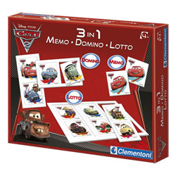 Kit 3 en 1 Cars Mémo-Domino-Loto