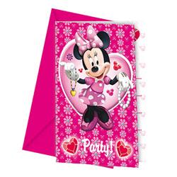 6 Cartes d'invitation et enveloppes Minnie