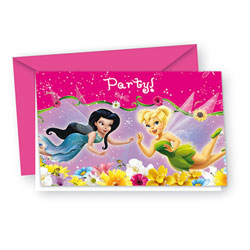 6 Cartes d'invitations + enveloppes Fairies