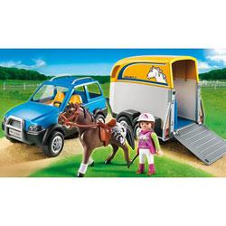 5223-Voiture avec remorque et cheval