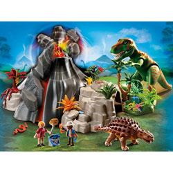 5230-Tyrannosaure et Saichania avec volcan