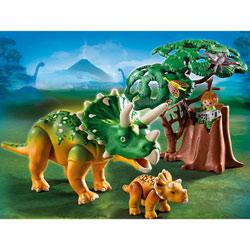 5234-Triceratops et son petit avec arbre