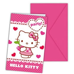 6 cartes d'invitations Hello Kitty