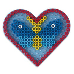 Plaque transparente pour perles à repasser coeur