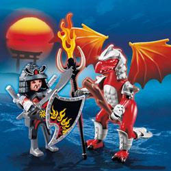 5463-Dragon de feu avec Samouraï