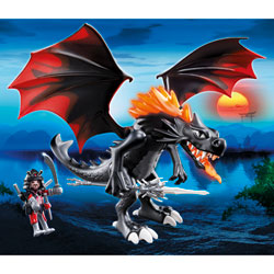 5482-Grand Dragon royal avec flamme lumineuse