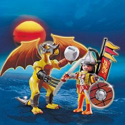 5462-Dragon de pierre avec guerrier