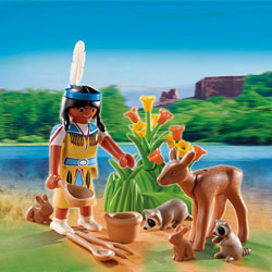 5278-Indienne avec animaux Playmobil