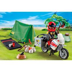 5438-Motard et tente de camping Playmobil