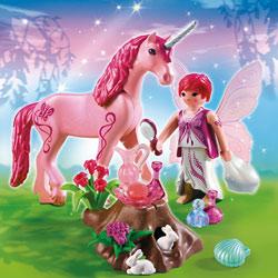 5443-Fée Coquette avec Licorne Rose