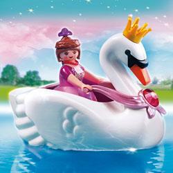 5476-Princesse avec bateau de cygne