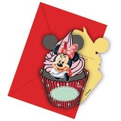 6 Cartes Invitations et 6 Enveloppes Minnie