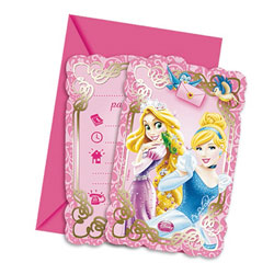 6 Cartes Invitation et 6 Enveloppes Princesses Disney