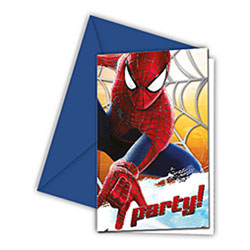 6 Cartes Invitation et 6 Enveloppes Amazing Spiderman 2