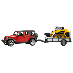 Jeep Rubicon avec remorque et chargeur
