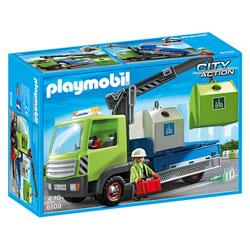 6109-Camion avec grue et conteneurs à verre
