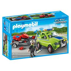 6111-Jardinier avec véhicule et tracteur tondeuse