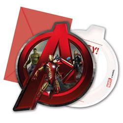 Invitations avec enveloppes Avengers