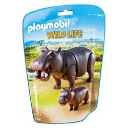 6945-Hippopotame et son petit