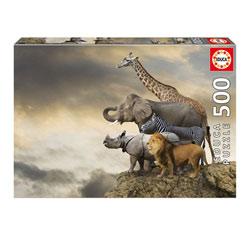 Puzzle 500 pièces animaux au bord de la falaise