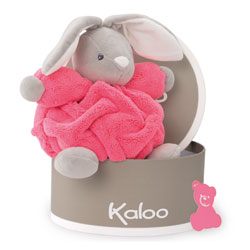 Doudou petit lapin rose fluo