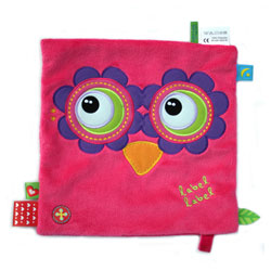 Doudou friends carré hibou rose