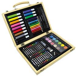 Mallette de dessin en bois 67 pièces