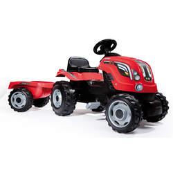 Tracteur farmer xl + remorque - capot ouvrable - rouge
