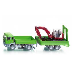Camion Avec Remorque Et Excavateur