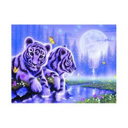 Puzzle 1500P bébés tigres au clair de lune