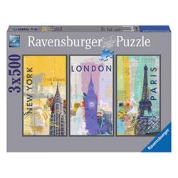 Puzzle 3X500P Voyage autour du monde
