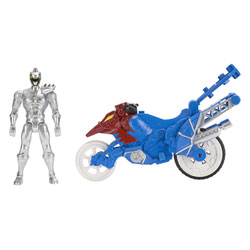 Power Rangers moto cascade et figurine Argent