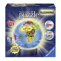 Puzzle 3D rond lumineux globe