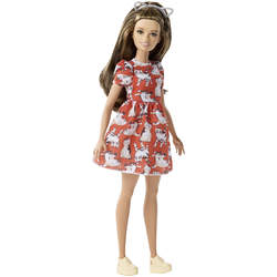 Barbie Fashionistas n°97 robe rouge imprimée chat
