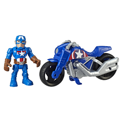 Figurine Captain America avec moto - Marvel Super-Hero Adventures