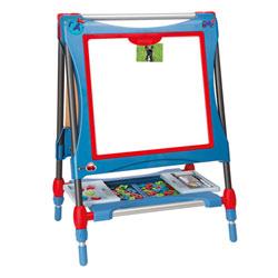 Tableau evolutif - ardoise double face - magnétique/craie - hauteur ajustable - 80 accessoires inclus - bleu