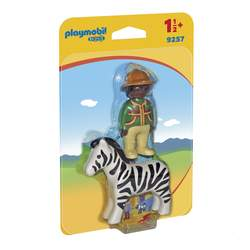 9257 - Playmobil 1.2.3 Figurine soigneur avec zèbre