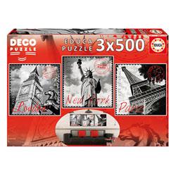 3 puzzles de 500 pièces grandes villes