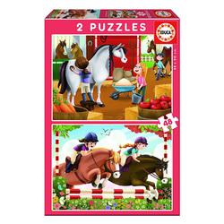 2 puzzles de 48 pièces chevaux