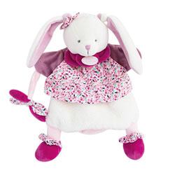 Doudou marionnette lapin cerise