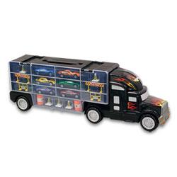 Camion de transport noir avec 6 véhicules