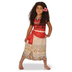 Déguisement avec perruque Vaiana 5-6 ans